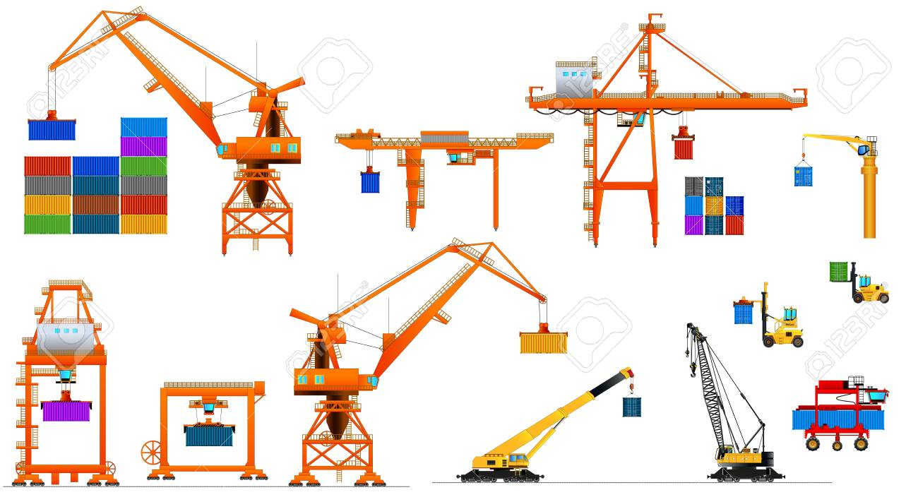 hight resolution of various types of harbor cargo cranes set shipping port equipment stock vector