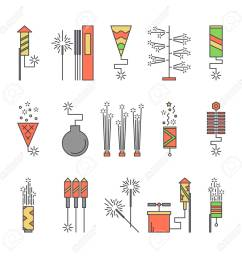 colorful vector pyrotechnic icons firework explosion elements line petard salute illustration firecracker set [ 1300 x 1300 Pixel ]