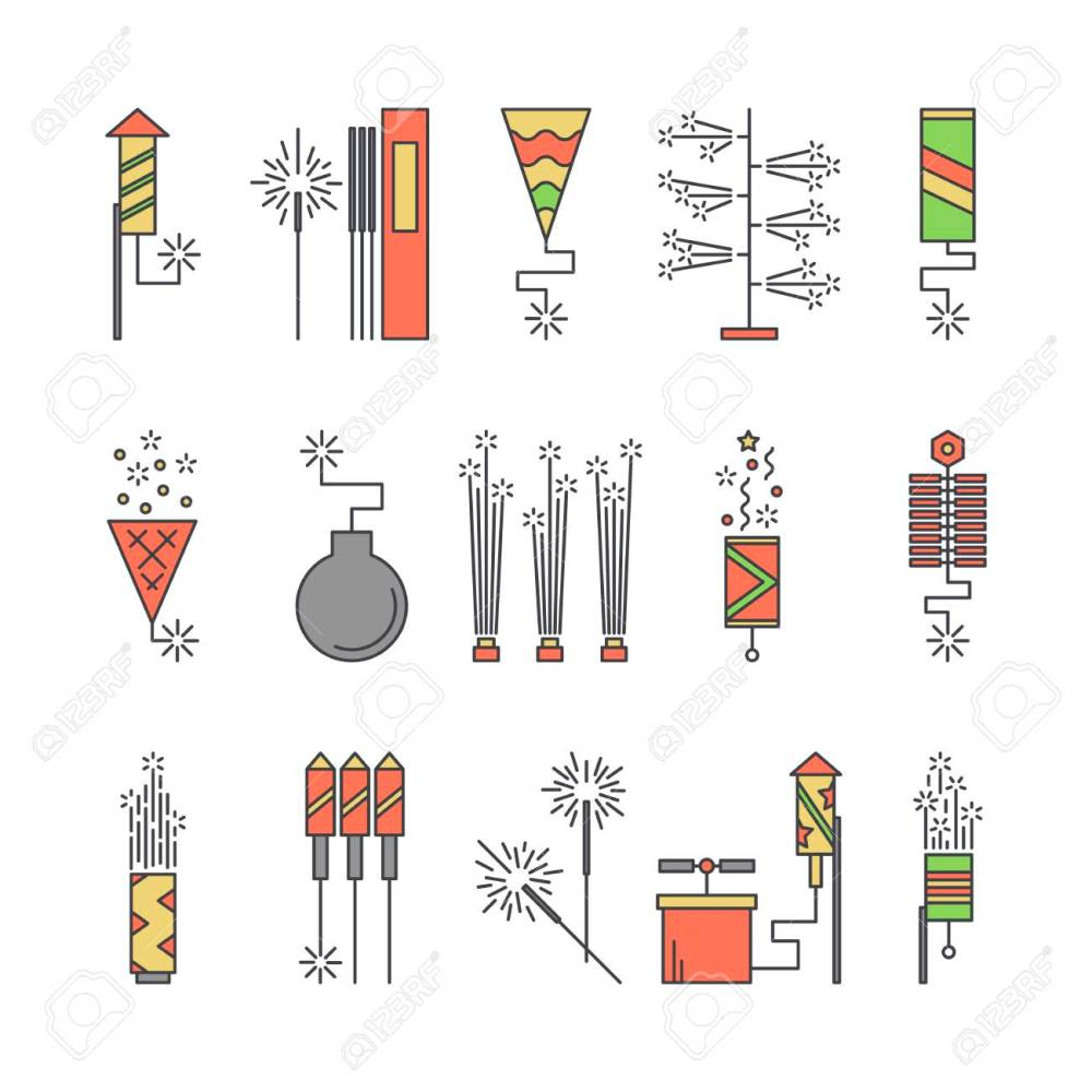 medium resolution of colorful vector pyrotechnic icons firework explosion elements line petard salute illustration firecracker set