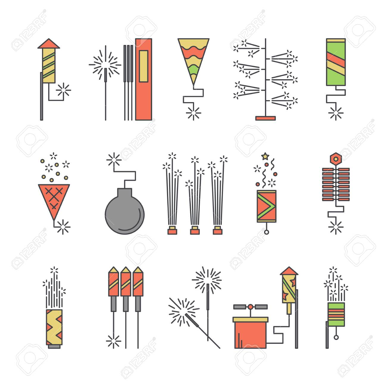 hight resolution of colorful vector pyrotechnic icons firework explosion elements line petard salute illustration firecracker set