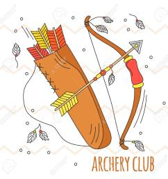 a vector cartoon bow and arrows archery club illustration kid summer play traditional [ 1300 x 1300 Pixel ]