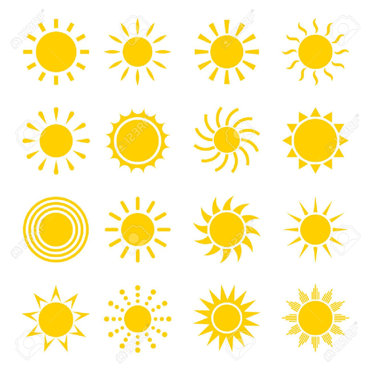 Sun Icon Vector Set. Concept Icons Of The Sun In A Flat Style ...