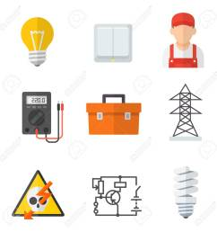 electrician industry icon cartoon set tradesperson electrical wiring of buildings systems and equipment [ 1300 x 1300 Pixel ]