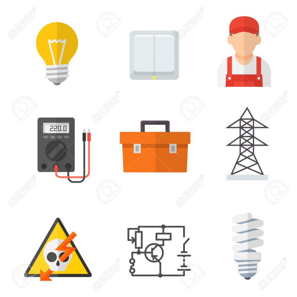 medium resolution of electrician industry icon cartoon set tradesperson electrical wiring of buildings systems and equipment