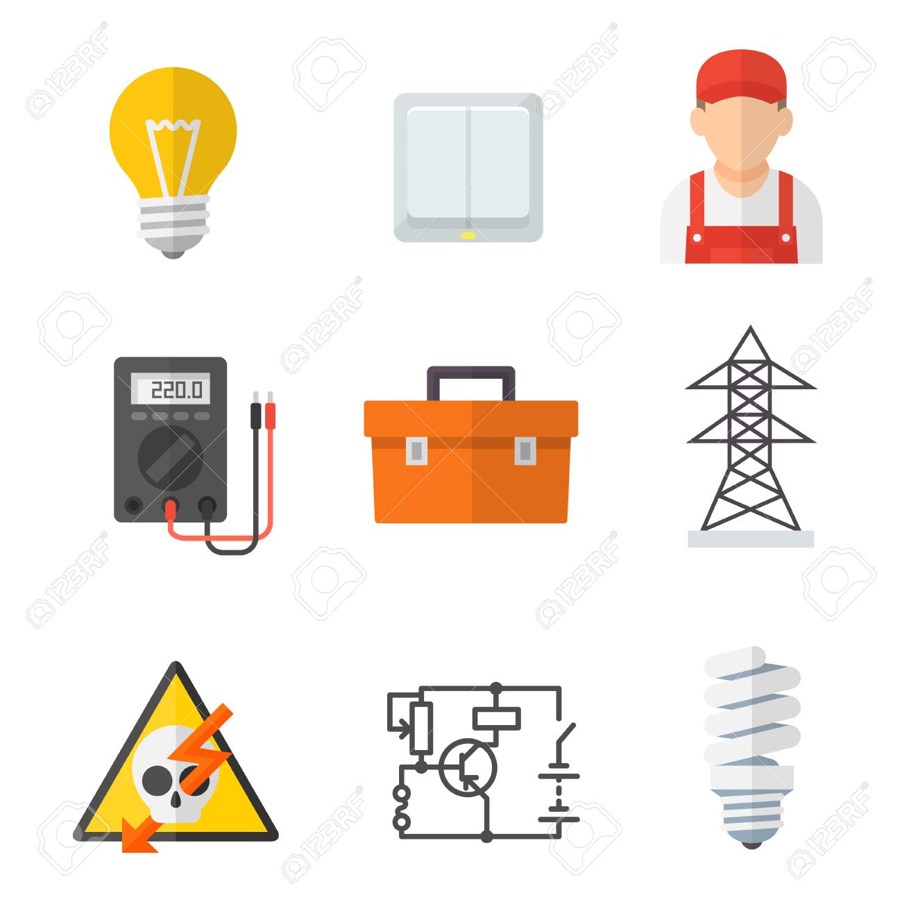 hight resolution of electrician industry icon cartoon set tradesperson electrical wiring of buildings systems and equipment