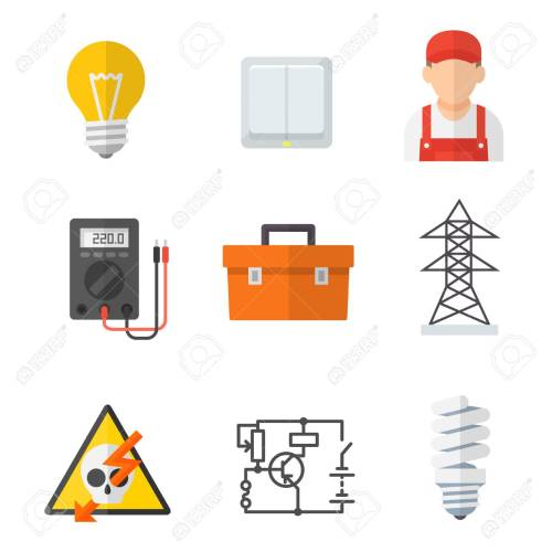 small resolution of electrician industry icon cartoon set tradesperson electrical wiring of buildings systems and equipment