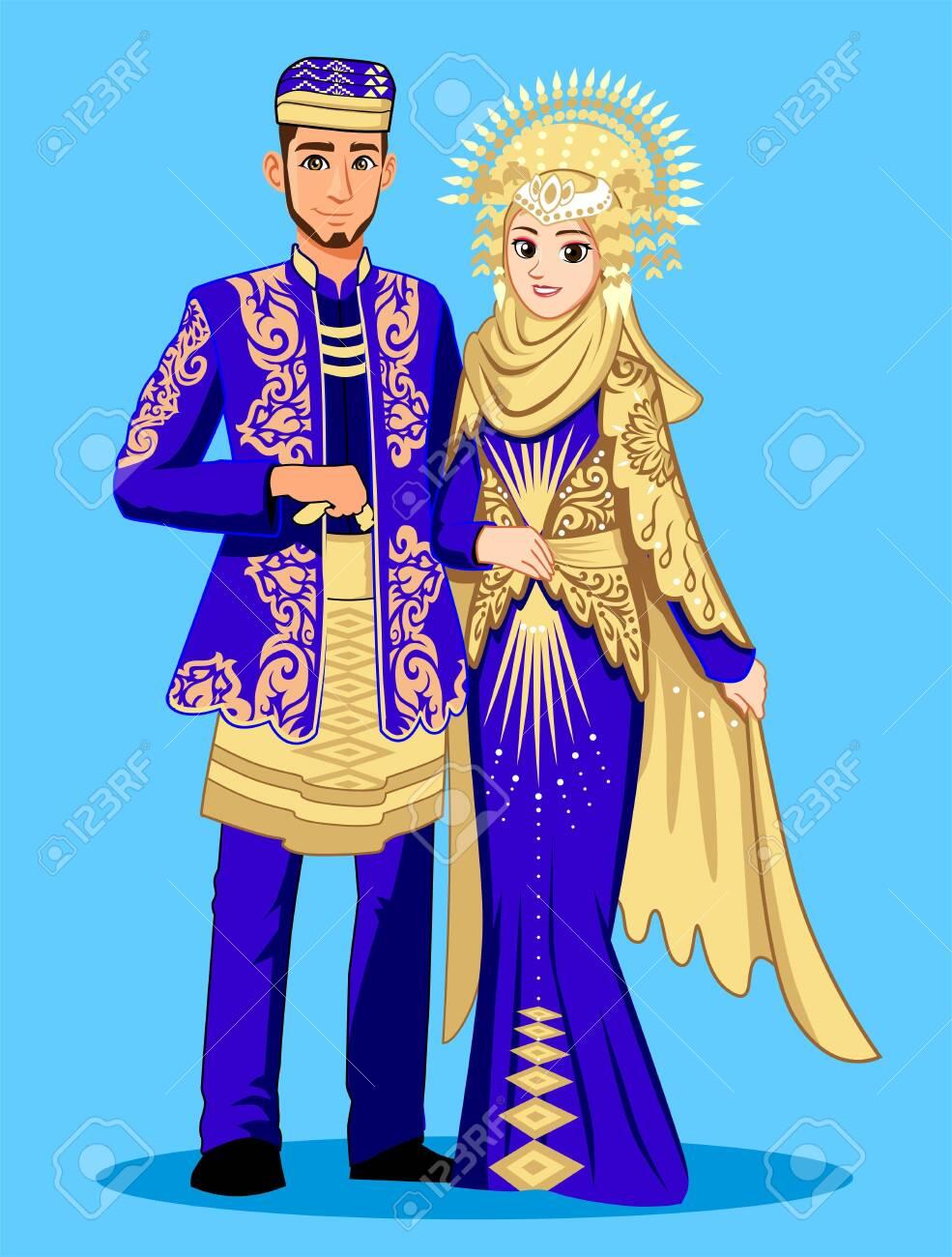 Pakaian Adat Vector : pakaian, vector, Minang, Padang, Muslim, Wedding, Royalty, Cliparts,, Vectors,, Stock, Illustration., Image, 128177418.