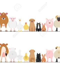 farm animals border set front view and rear view stock vector 69224152 [ 1300 x 919 Pixel ]