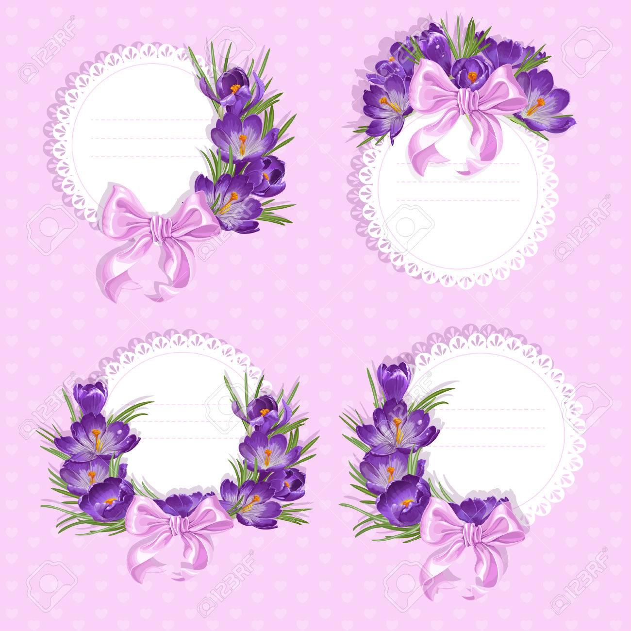 labels with purple crocus