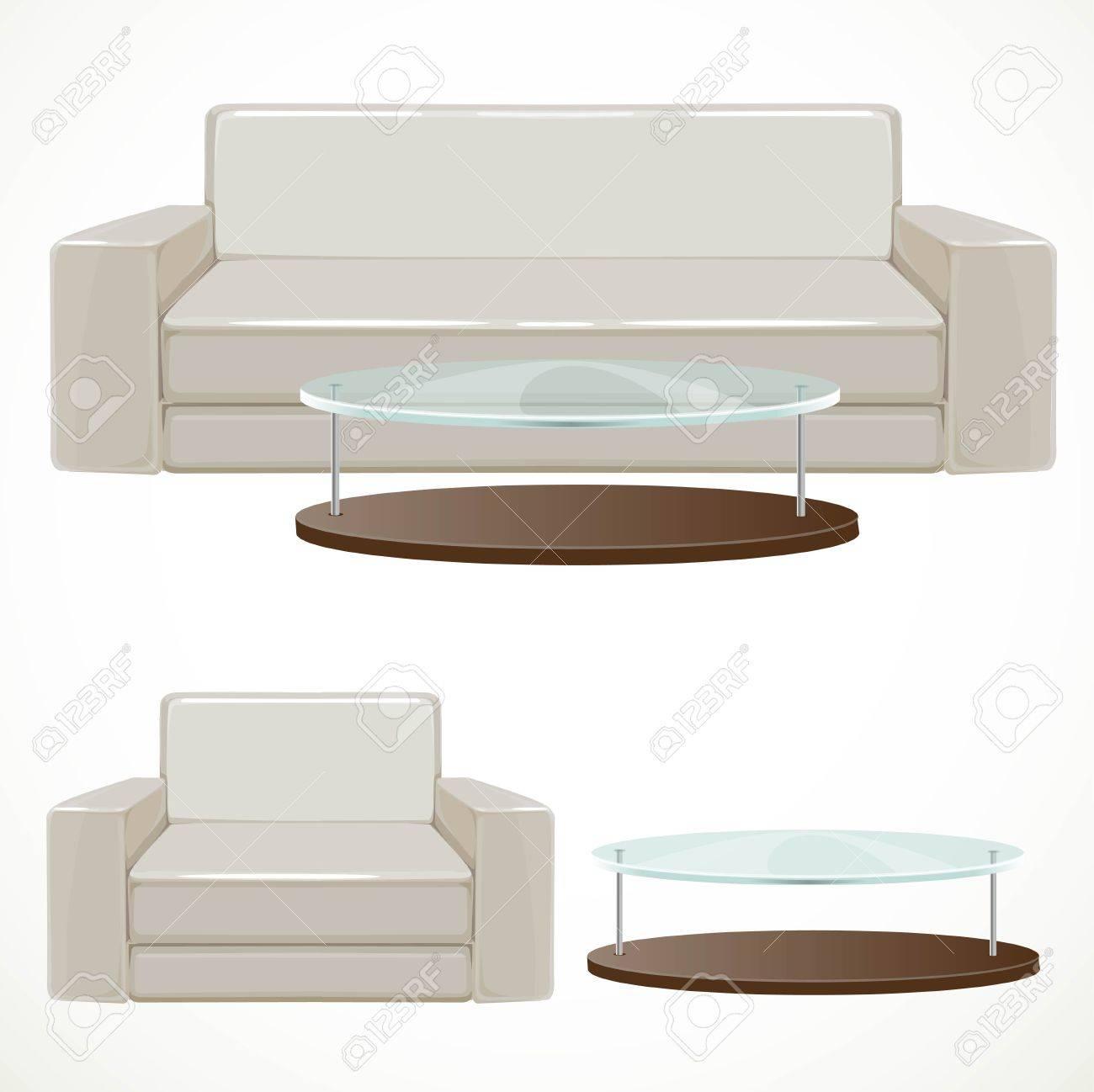 canape et fauteuil rembourres avec beige clair et une table basse avec plateau en verre illustration isole sur fond blanc clip art libres de droits vecteurs et illustration image 54582189