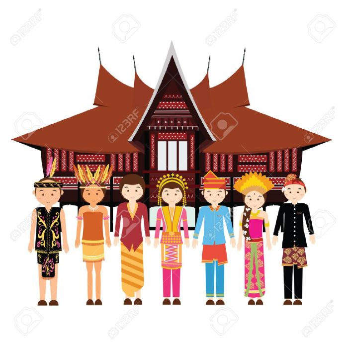 Indonesia Ethnic Group Wearing Traditional Dress Clothes In Front Royalty Free Cliparts Vectors And Stock Illustration Image 60187535
