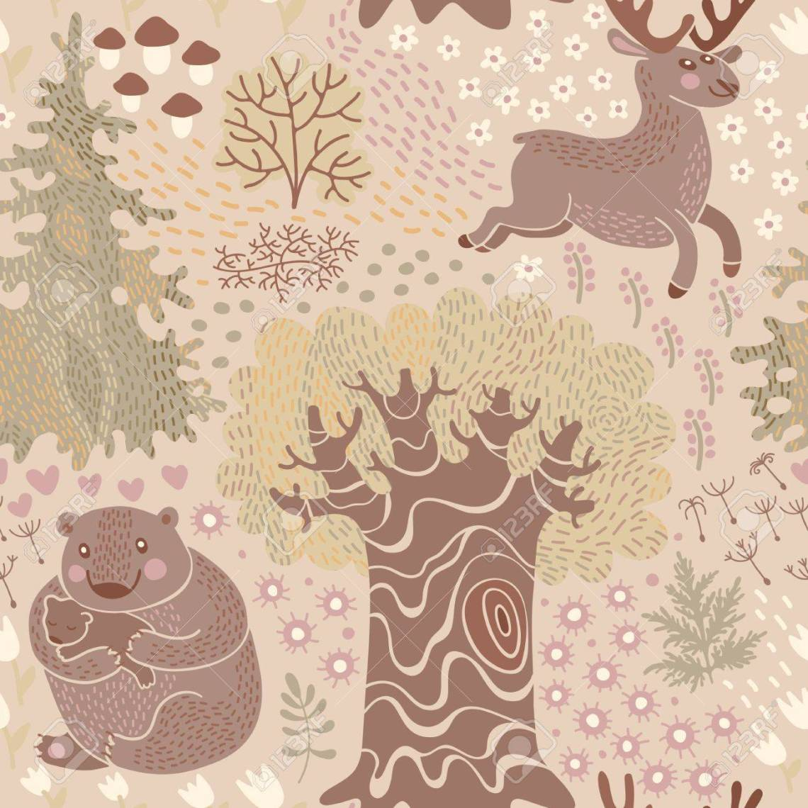 Seamless Pattern With Deer Bears In The Woods Perfect For A Royalty Free Cliparts Vectors And Stock Illustration Image 25466878