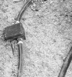 stock photo underground and outdoor hdpe electric pipe line and junction box on earth black and white tone [ 1300 x 866 Pixel ]