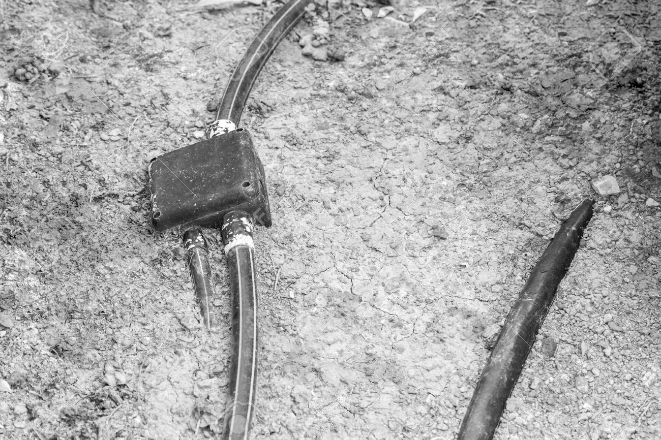 hight resolution of stock photo underground and outdoor hdpe electric pipe line and junction box on earth black and white tone