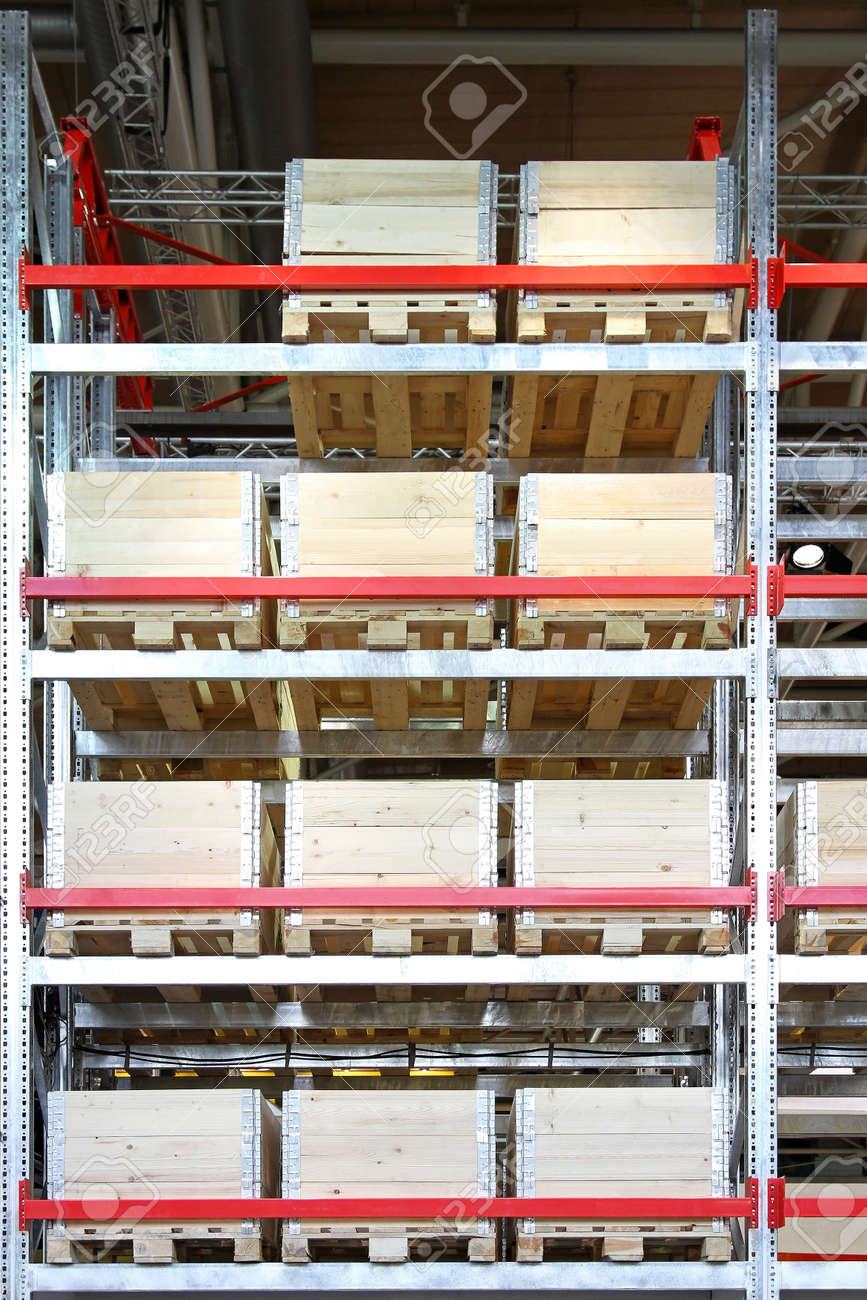 Strong Wooden Crates At Pallet Shelves In Warehouse