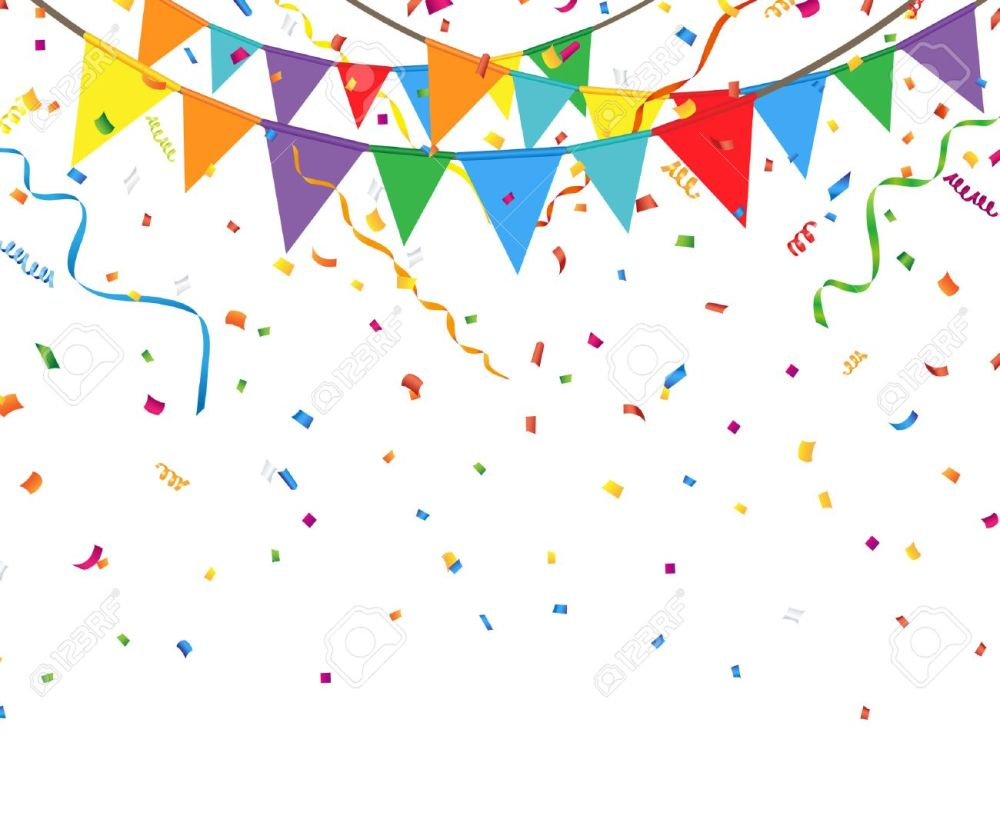 medium resolution of party flags with confetti and streamer stock vector 54788399