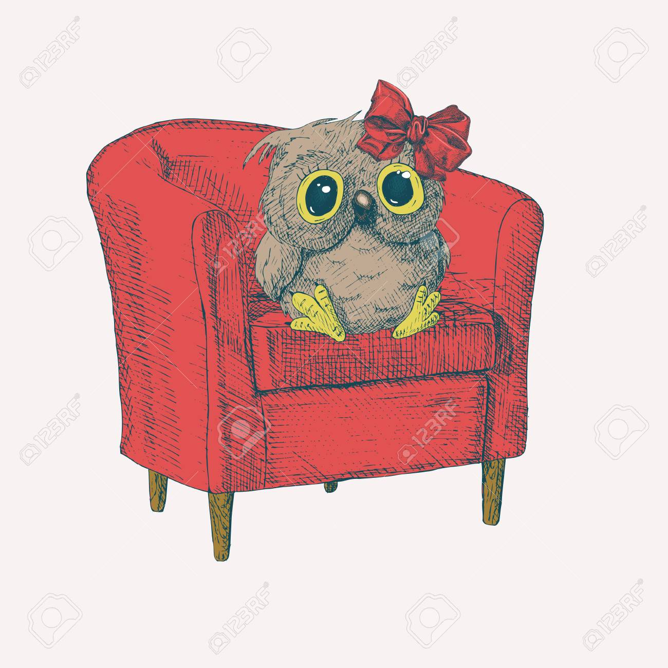Owl Chair Cute Owl With A Bow Sitting On Easychair Cute Owl With A Bow