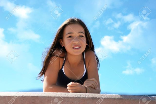 Asian Teen Girl Against The Sky Stock Photo 252199