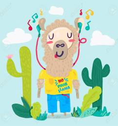 llama in earphones flat cartoon character stylized lettering hipster alpaca cacti color clipart [ 1300 x 1300 Pixel ]