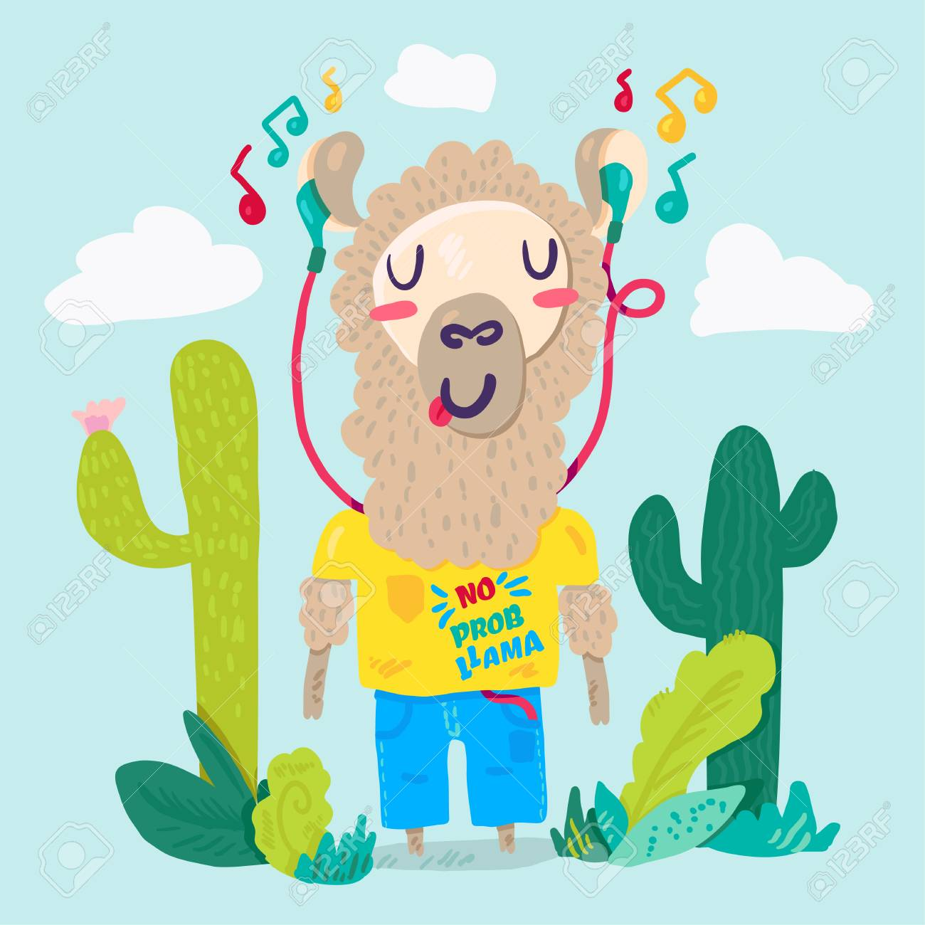 hight resolution of llama in earphones flat cartoon character stylized lettering hipster alpaca cacti color clipart