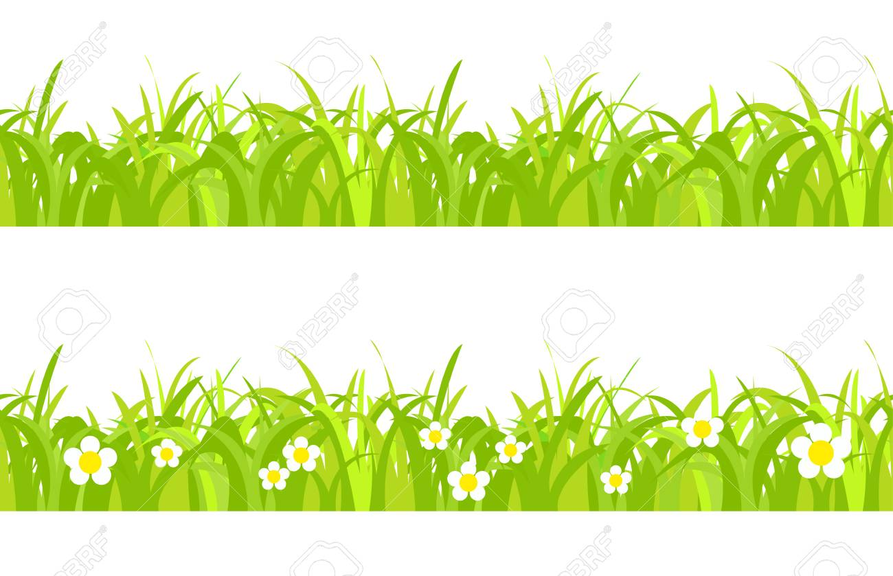 hight resolution of seamless spring grass on a white background with flowers stock vector 41309200