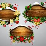 A Vector Illustration Of Wooden Christmas Board For Wall Decor