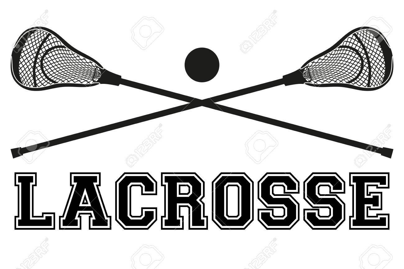 hight resolution of lacrosse sticks and ball flat and silhouette style sport equipment front view vector