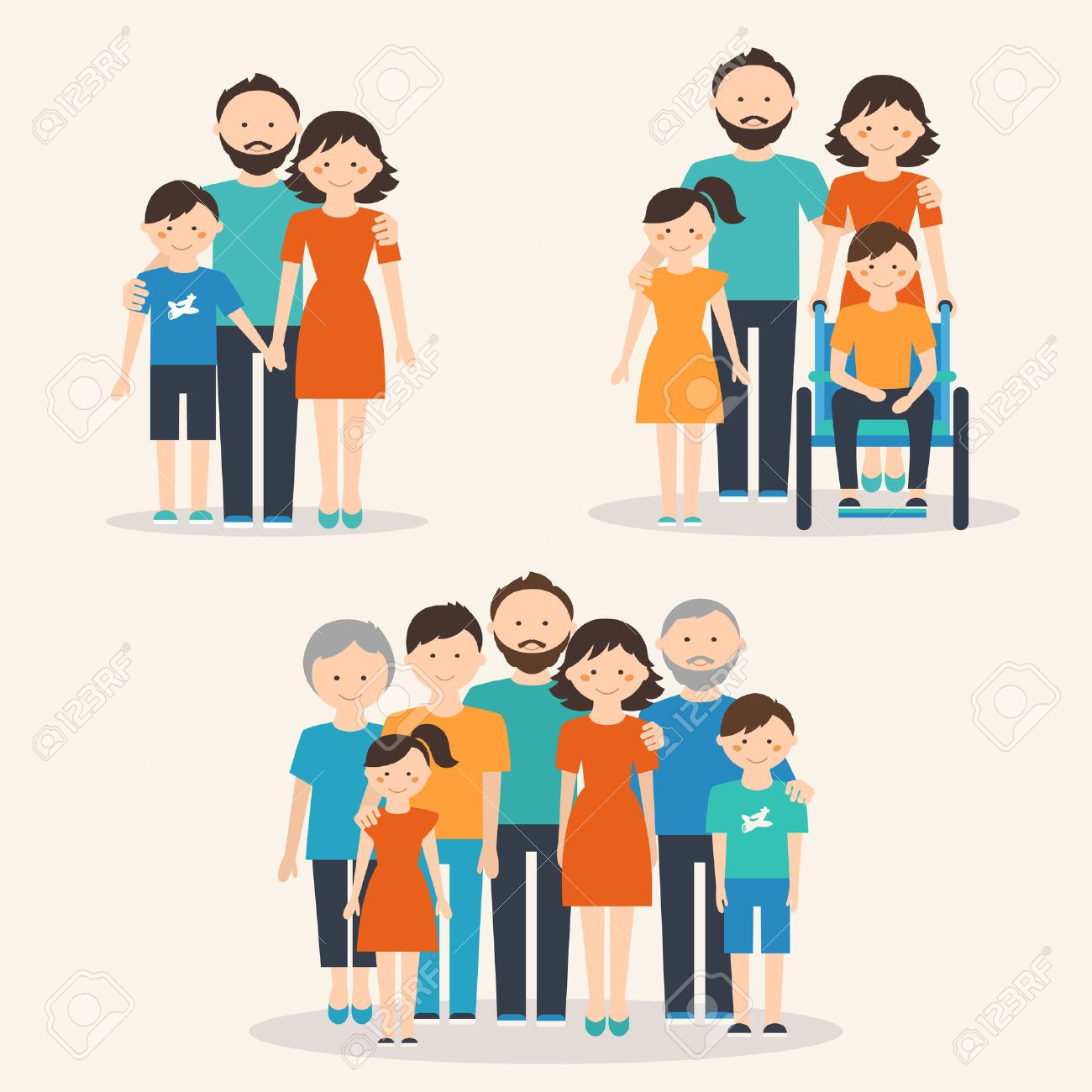 hight resolution of nuclear family family with special needs child and extended family families of different types