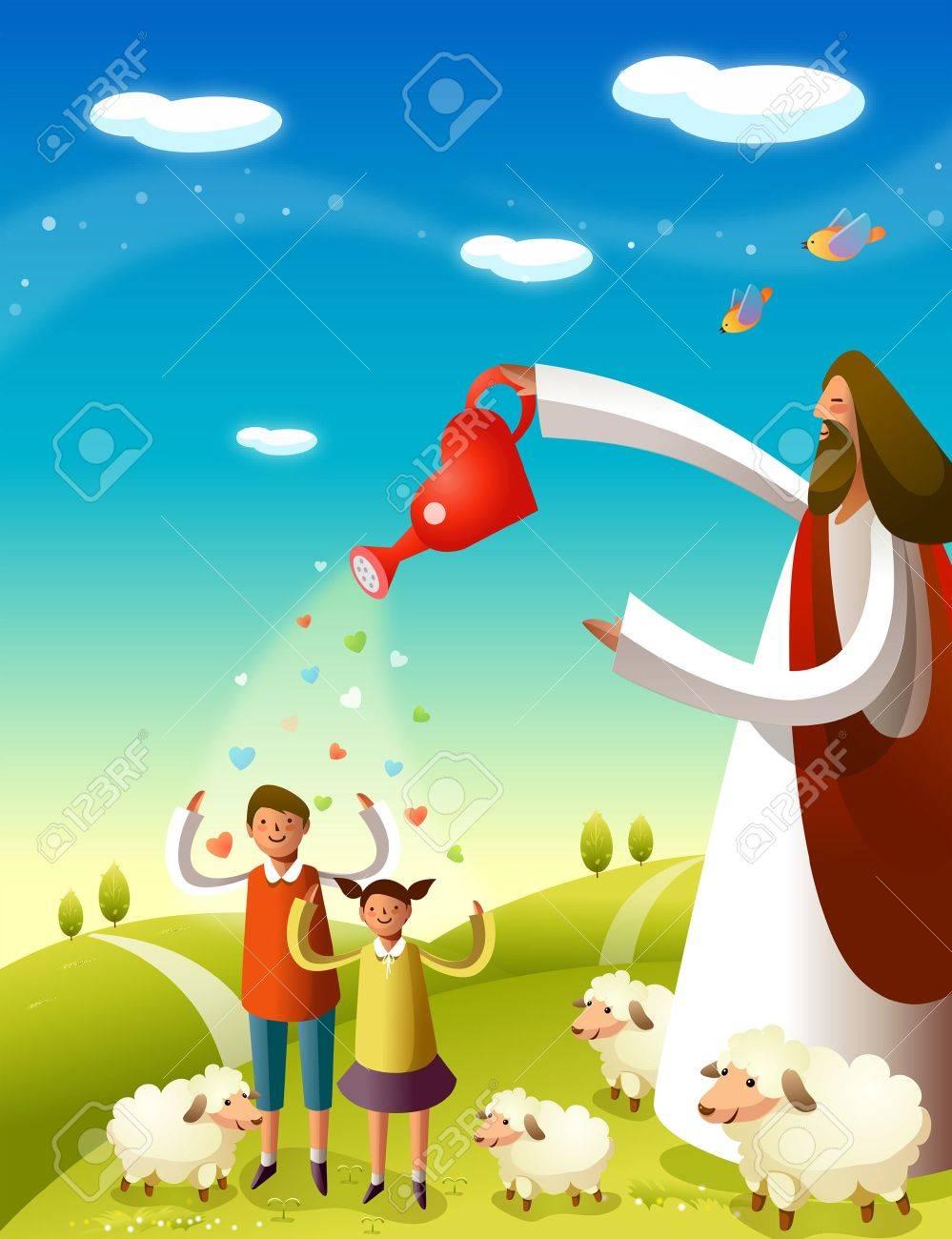medium resolution of jesus christ blessing two children stock vector 78587686