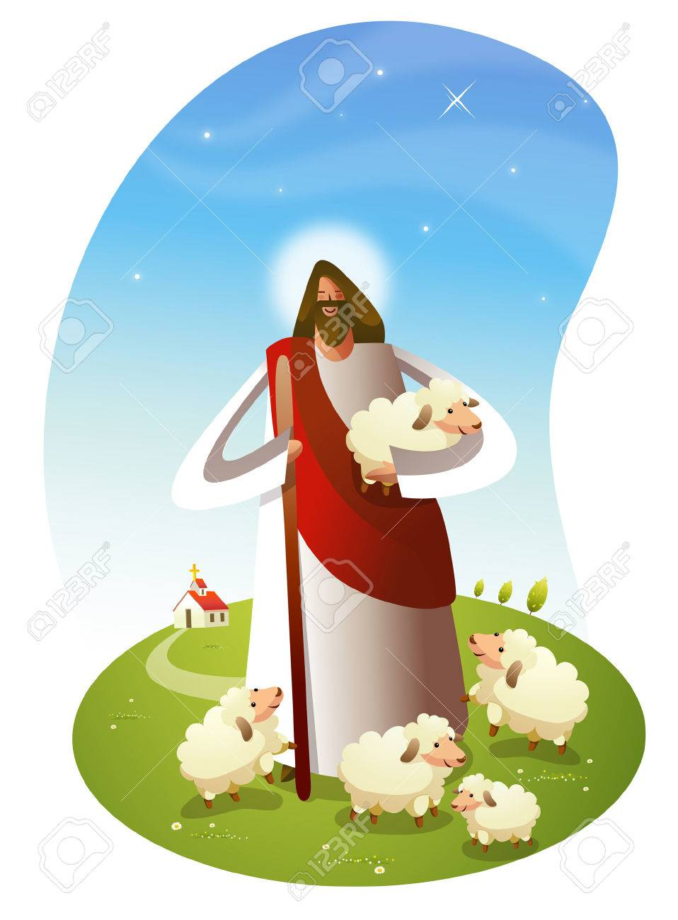 hight resolution of jesus christ standing with sheep stock vector 78587751