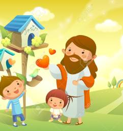 jesus christ and two children standing near a birdhouse stock vector 78587791 [ 1300 x 1012 Pixel ]