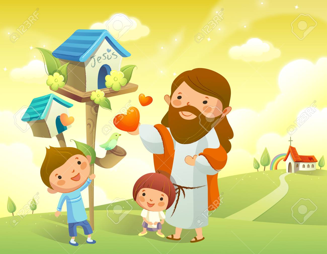 hight resolution of jesus christ and two children standing near a birdhouse stock vector 78587791