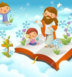 jesus christ with two children on the cloud stock vector 78684416 [ 1300 x 980 Pixel ]