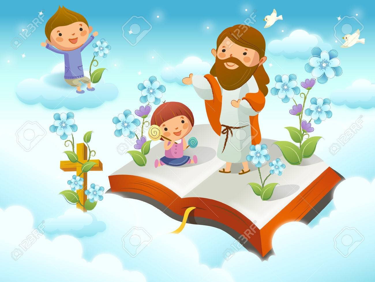 hight resolution of jesus christ with two children on the cloud stock vector 78684416