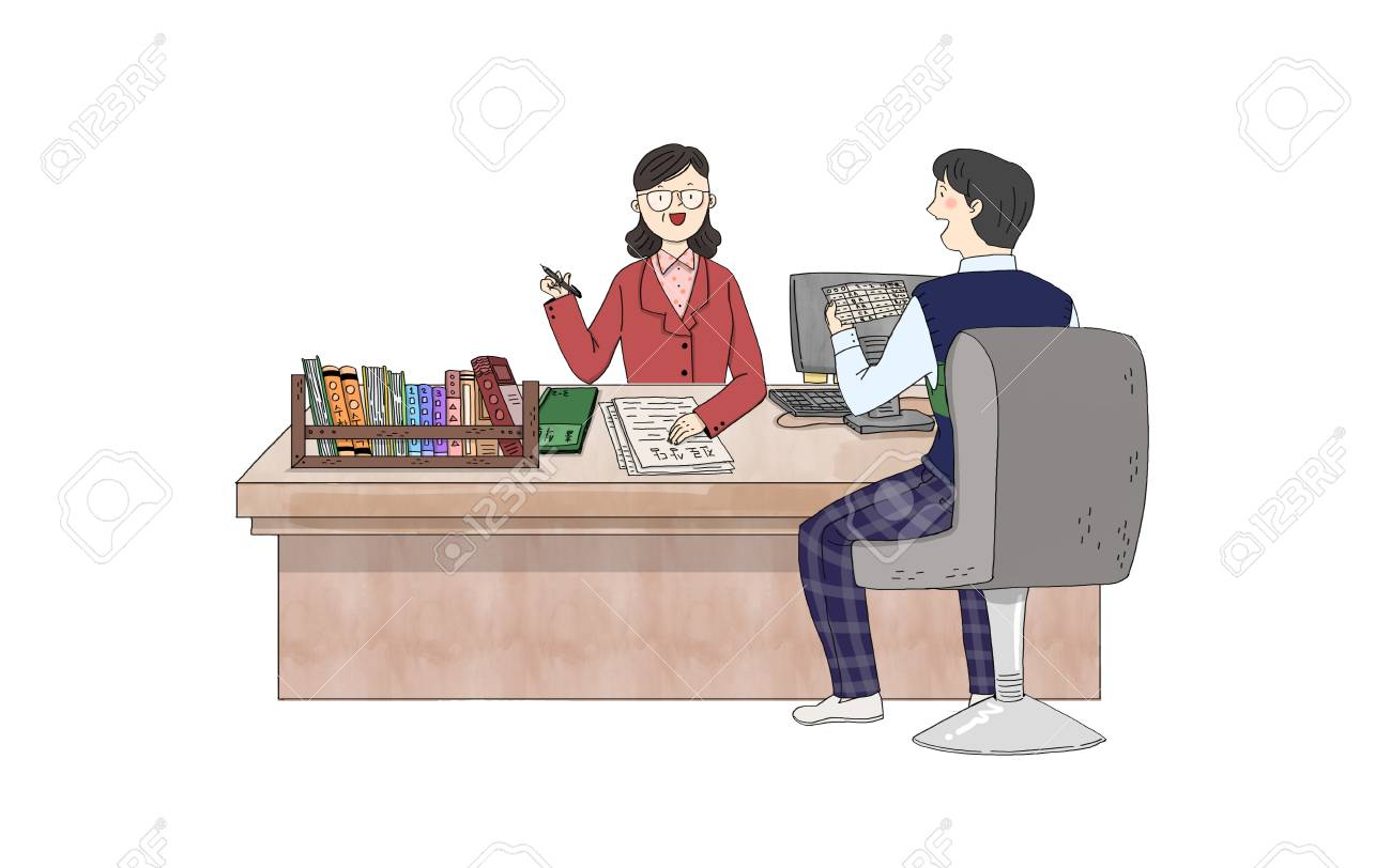 hight resolution of consultation a boy student is talking to teacher stock vector 91180214