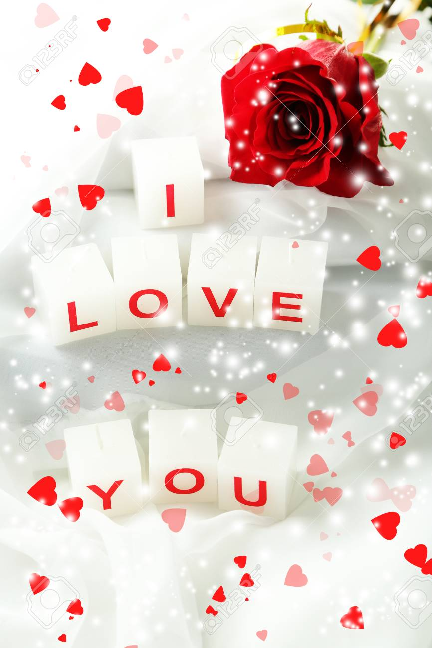 Love You Bilder Candles With Printed Sign I Love You,on White Fabric Background Stock Photo, Picture And Royalty Free Image. Image 24859349.