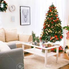 Beautiful Living Rooms At Christmas Room Decorating Ideas For Old Houses Interior Of Decorated Stock Photo 96844424