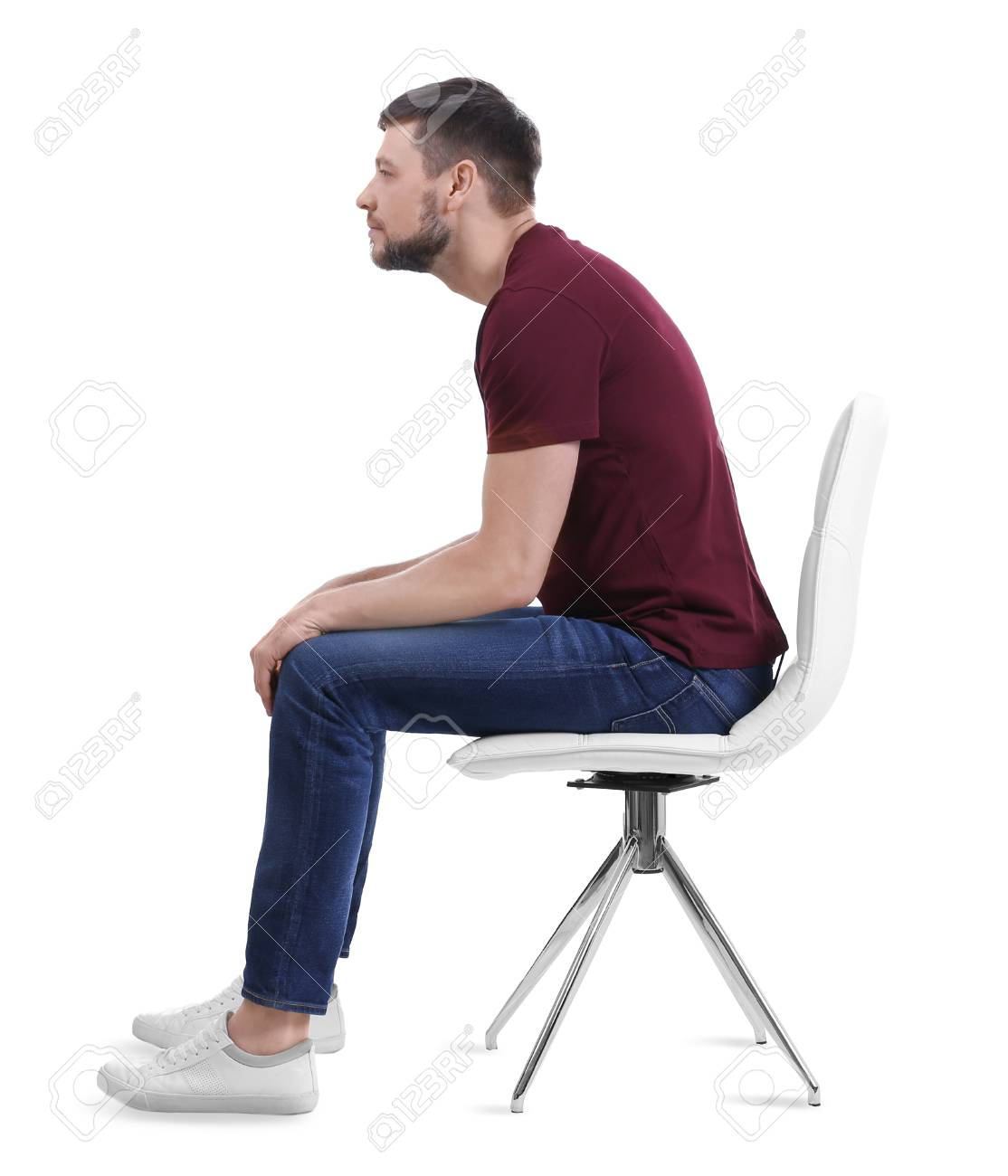 posture chair sitting era lounge low steel concept man on against white background stock photo 97521727