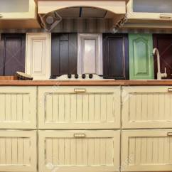 Kitchen Samples Modern Sets Assortment Of Wooden With New Furniture In Hardware Store Stock Photo 98119497