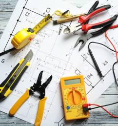 different electrical tools and circuit diagram on wooden background wiring diagram explanation wiring diagram backgrounds [ 1300 x 866 Pixel ]