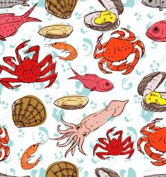 seafood crabs fish shells seamless background handdrawn stock vector 42728008 [ 1300 x 1300 Pixel ]
