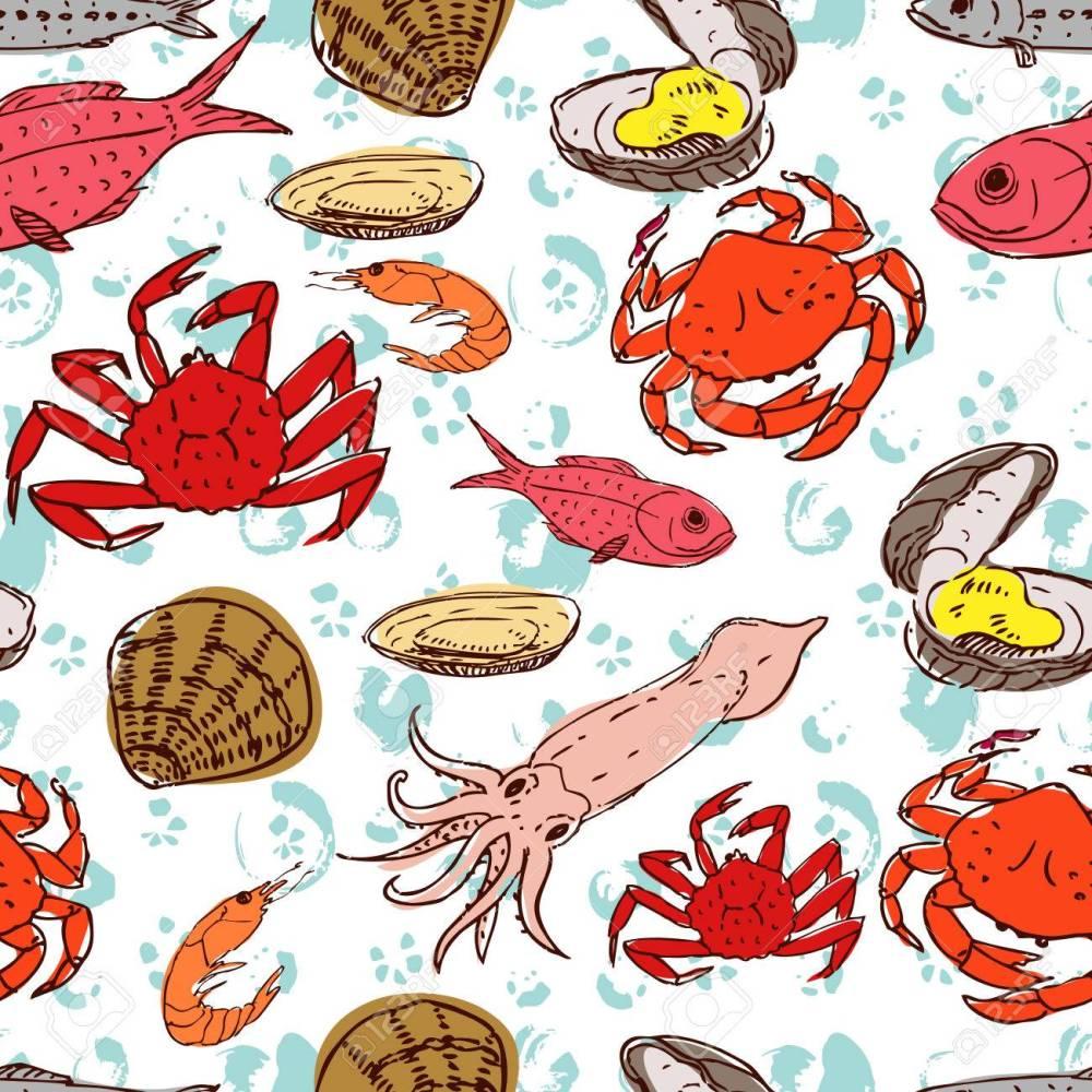 medium resolution of seafood crabs fish shells seamless background handdrawn stock vector 42728008