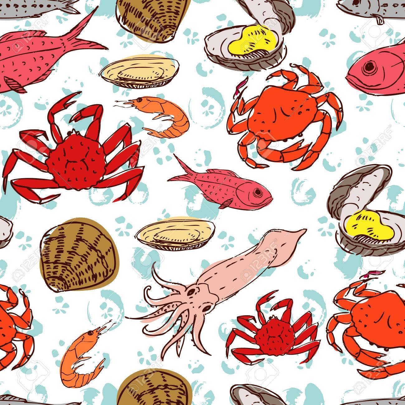 hight resolution of seafood crabs fish shells seamless background handdrawn stock vector 42728008