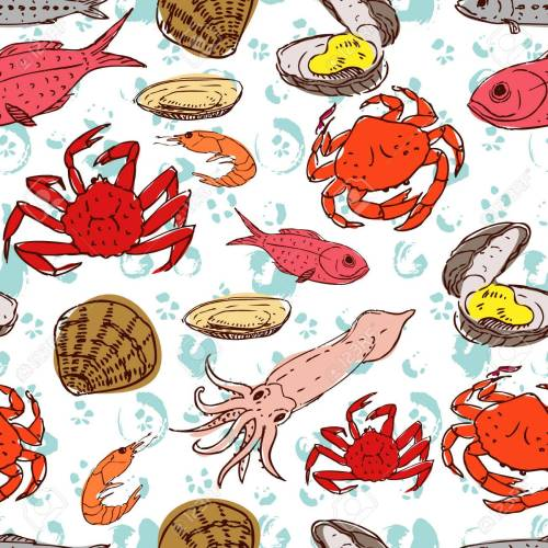 small resolution of seafood crabs fish shells seamless background handdrawn stock vector 42728008