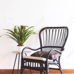 Black Rattan Chair Unique Chairs In Interior Setting By The Window Stock Photo 66350156