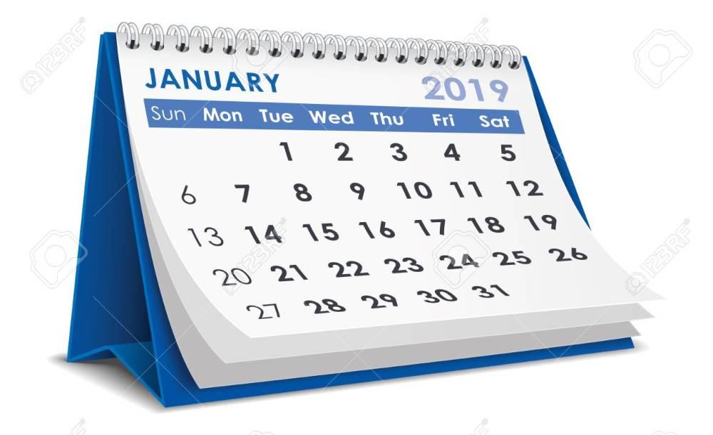 medium resolution of january 2019 calendar stock vector 106549974
