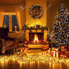 Beautiful Living Rooms At Christmas Modern Room Ideas Decorated With A Tree And Fire Place Stock Photo 94389891