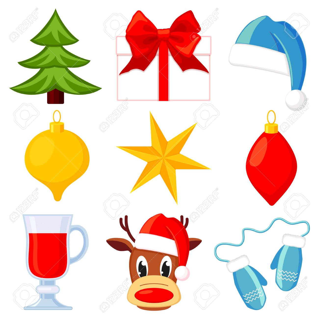 9 Colorful Cartoon Christmas Elements Set Holiday Traditional Royalty Free Cliparts Vectors And Stock Illustration Image 109836258
