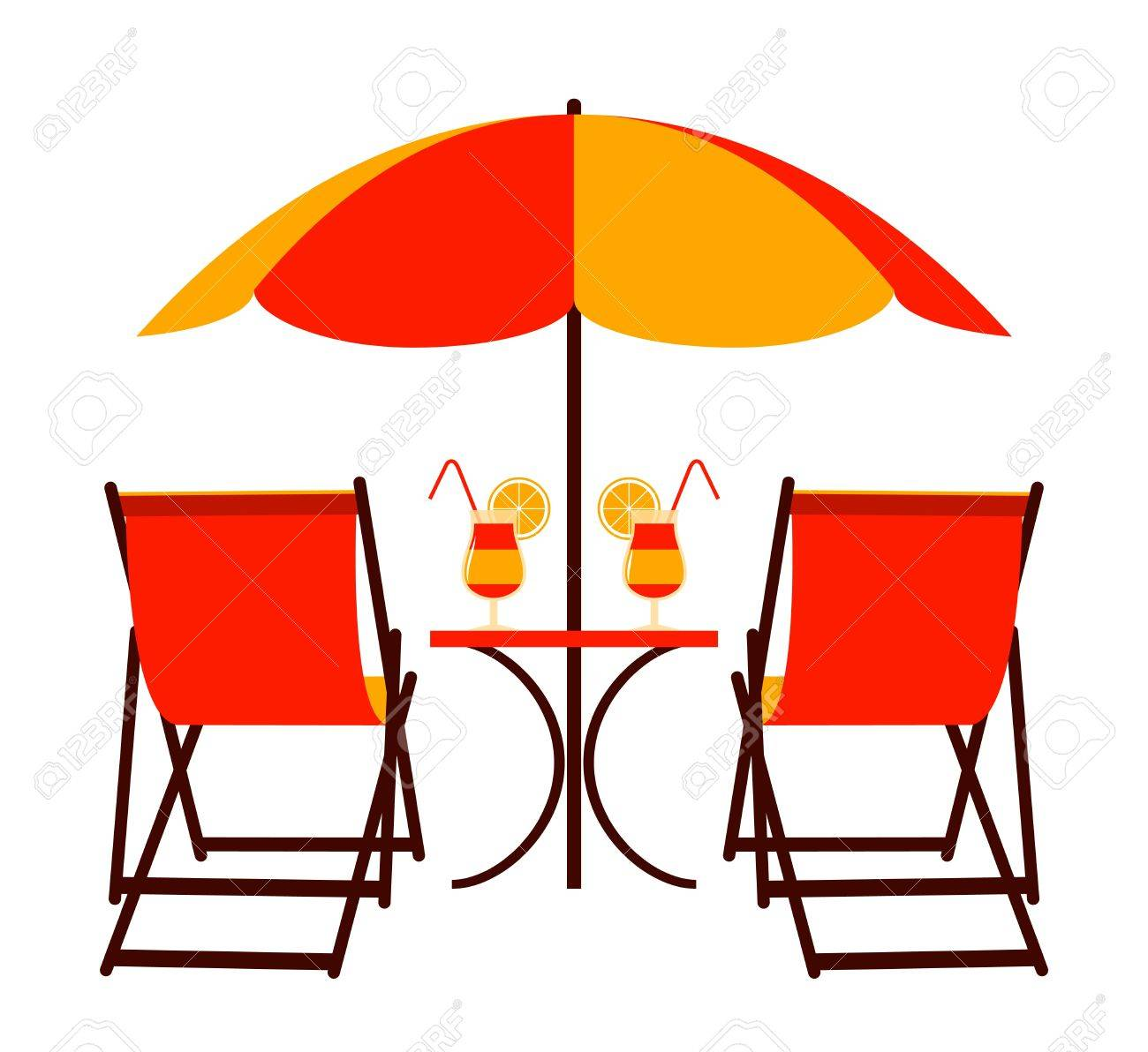 beach chair and umbrella clipart chaise outdoor lounge chairs deck under royalty free cliparts vectors stock vector 13504280