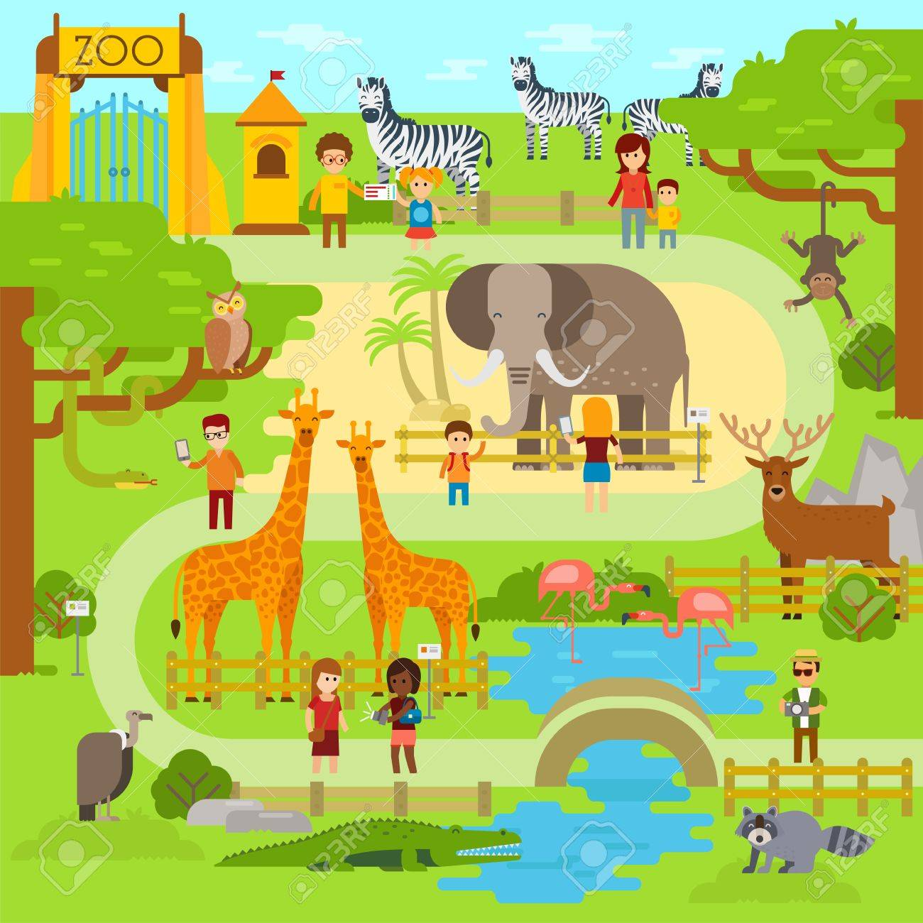 hight resolution of vector zoo vector flat illustration animals vector flat design zoo infographic with elephant people walk in the park zoo zoo map banner
